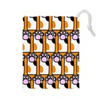 Cute Cat Hand Orange Drawstring Pouches (Large)  Front