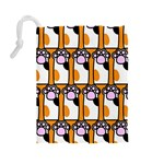 Cute Cat Hand Orange Drawstring Pouches (Large)  Back