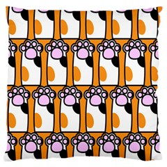 Cute Cat Hand Orange Large Flano Cushion Case (One Side)