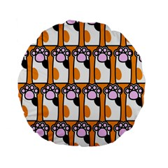 Cute Cat Hand Orange Standard 15  Premium Flano Round Cushions