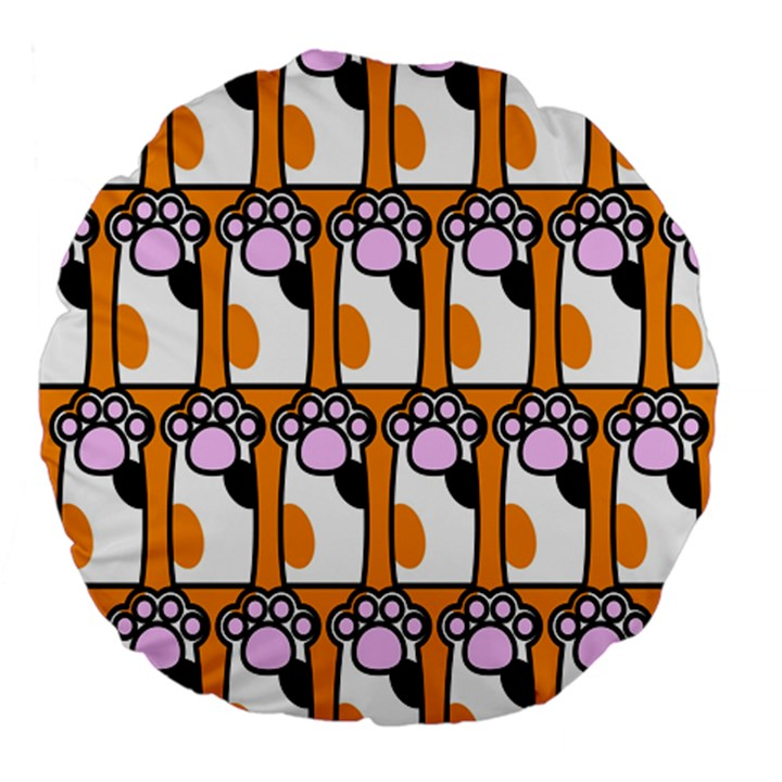 Cute Cat Hand Orange Large 18  Premium Flano Round Cushions