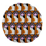Cute Cat Hand Orange Large 18  Premium Flano Round Cushions Back