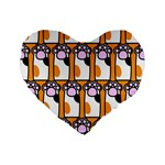 Cute Cat Hand Orange Standard 16  Premium Flano Heart Shape Cushions Front