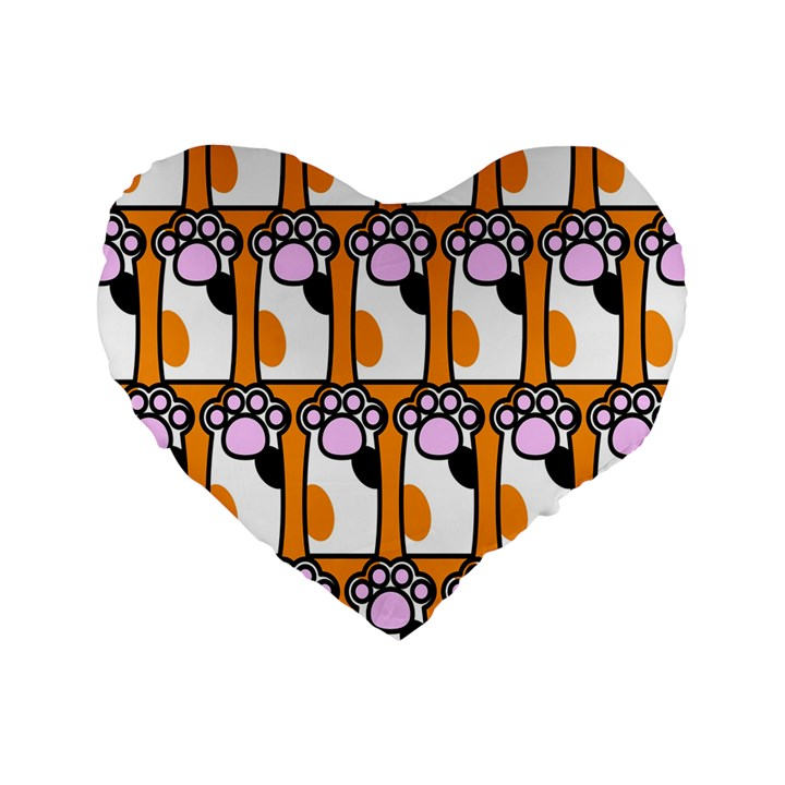 Cute Cat Hand Orange Standard 16  Premium Flano Heart Shape Cushions