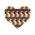 Cute Cat Hand Orange Standard 16  Premium Flano Heart Shape Cushions Back