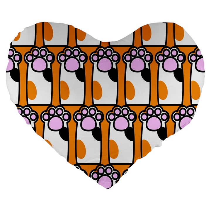 Cute Cat Hand Orange Large 19  Premium Flano Heart Shape Cushions