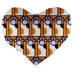 Cute Cat Hand Orange Large 19  Premium Flano Heart Shape Cushions Back