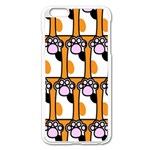 Cute Cat Hand Orange Apple iPhone 6 Plus/6S Plus Enamel White Case Front