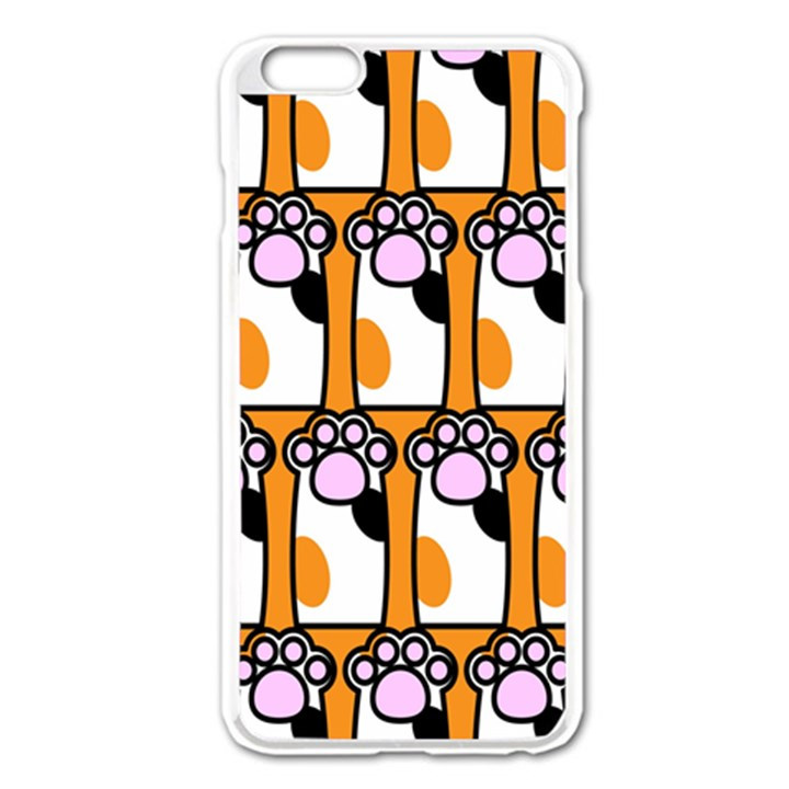 Cute Cat Hand Orange Apple iPhone 6 Plus/6S Plus Enamel White Case