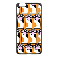Cute Cat Hand Orange Apple iPhone 6 Plus/6S Plus Black Enamel Case