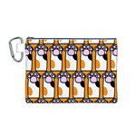 Cute Cat Hand Orange Canvas Cosmetic Bag (M) Front