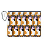 Cute Cat Hand Orange Canvas Cosmetic Bag (L) Front
