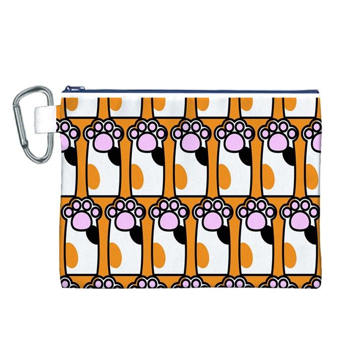 Cute Cat Hand Orange Canvas Cosmetic Bag (L)