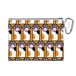 Cute Cat Hand Orange Canvas Cosmetic Bag (L) Back