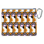 Cute Cat Hand Orange Canvas Cosmetic Bag (XXL) Back
