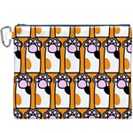 Cute Cat Hand Orange Canvas Cosmetic Bag (XXXL) Front