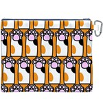 Cute Cat Hand Orange Canvas Cosmetic Bag (XXXL) Back