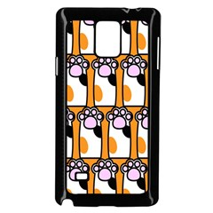 Cute Cat Hand Orange Samsung Galaxy Note 4 Case (Black)
