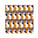 Cute Cat Hand Orange Small Satin Scarf (Square) Front