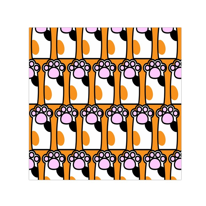 Cute Cat Hand Orange Small Satin Scarf (Square)