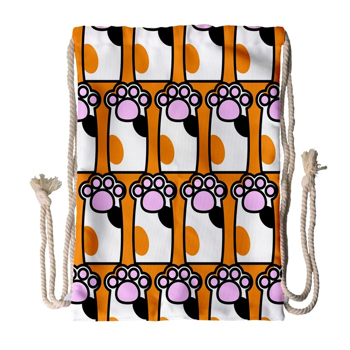 Cute Cat Hand Orange Drawstring Bag (Large)