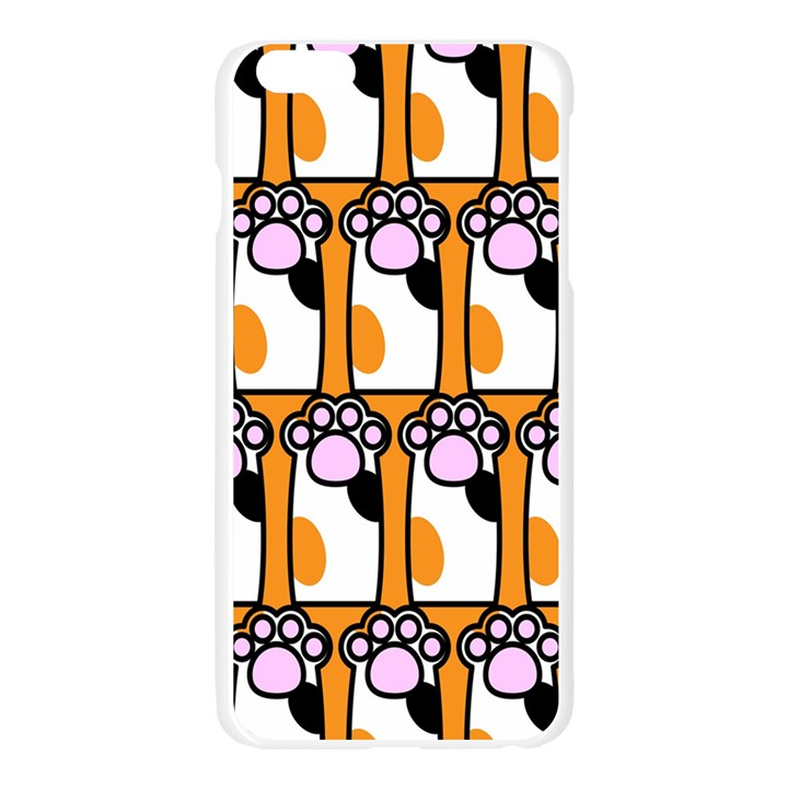 Cute Cat Hand Orange Apple Seamless iPhone 6 Plus/6S Plus Case (Transparent)