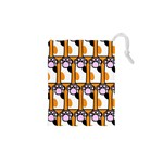 Cute Cat Hand Orange Drawstring Pouches (XS)  Front