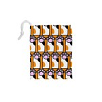 Cute Cat Hand Orange Drawstring Pouches (XS)  Back