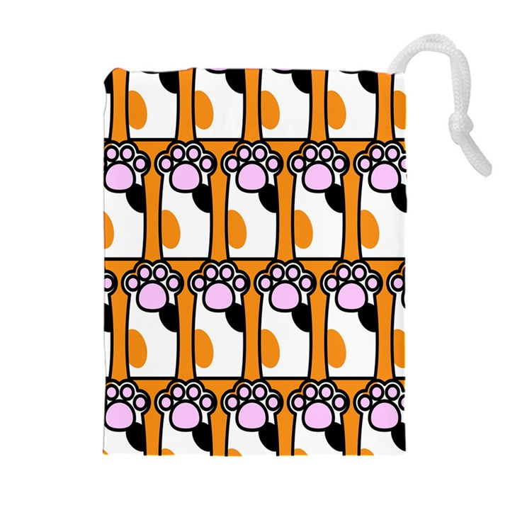 Cute Cat Hand Orange Drawstring Pouches (Extra Large)