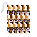 Cute Cat Hand Orange Drawstring Pouches (Extra Large) Back