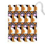 Cute Cat Hand Orange Drawstring Pouches (XXL) Front