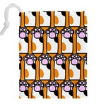 Cute Cat Hand Orange Drawstring Pouches (XXL) Back