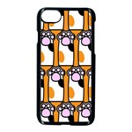 Cute Cat Hand Orange Apple iPhone 7 Seamless Case (Black) Front