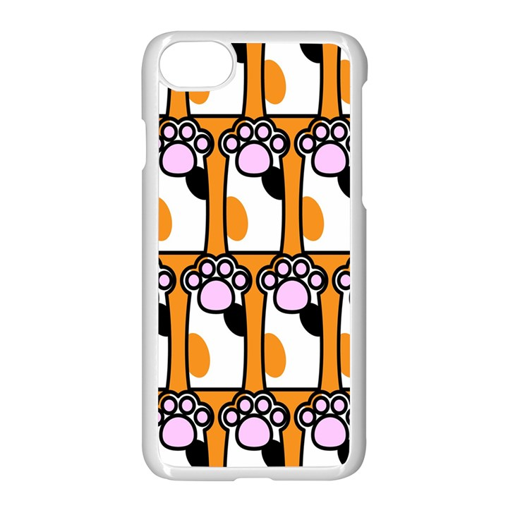 Cute Cat Hand Orange Apple iPhone 7 Seamless Case (White)