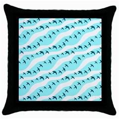 Darkl Ight Fly Blue Bird Throw Pillow Case (Black)
