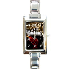 Classical Music Instruments Rectangle Italian Charm Watch