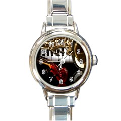 Classical Music Instruments Round Italian Charm Watch
