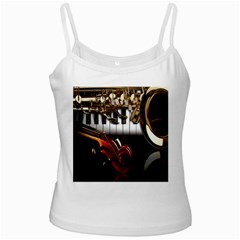Classical Music Instruments White Spaghetti Tank
