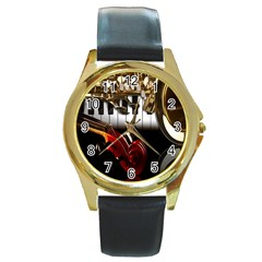 Classical Music Instruments Round Gold Metal Watch