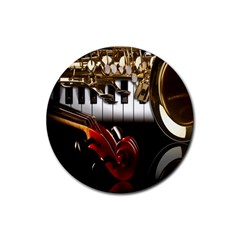 Classical Music Instruments Rubber Coaster (Round)