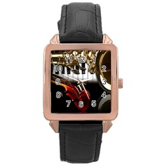 Classical Music Instruments Rose Gold Leather Watch