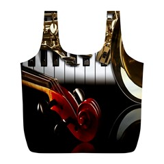 Classical Music Instruments Full Print Recycle Bags (L)