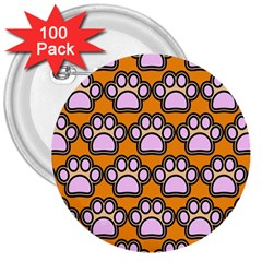 Dog Foot Orange Soles Feet 3  Buttons (100 pack)