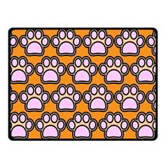 Dog Foot Orange Soles Feet Double Sided Fleece Blanket (Small)