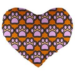 Dog Foot Orange Soles Feet Large 19  Premium Flano Heart Shape Cushions