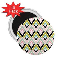Chevron Pink Green Copy 2.25  Magnets (10 pack)