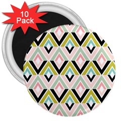 Chevron Pink Green Copy 3  Magnets (10 pack)