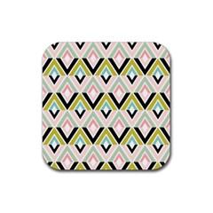 Chevron Pink Green Copy Rubber Coaster (Square)