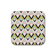 Chevron Pink Green Copy Rubber Square Coaster (4 pack)