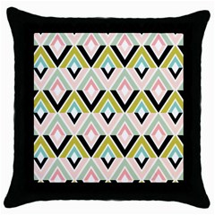 Chevron Pink Green Copy Throw Pillow Case (Black)